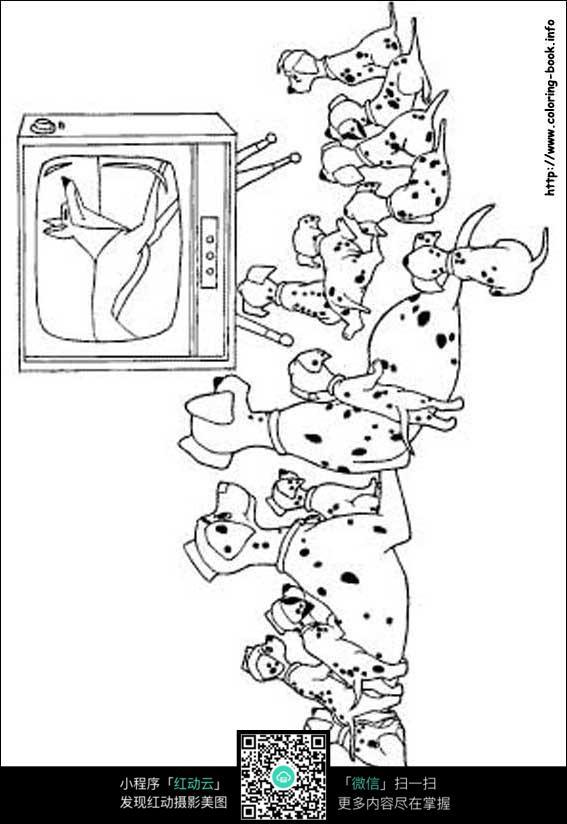 一群斑点狗看电视卡通手绘填色线稿jpg图片