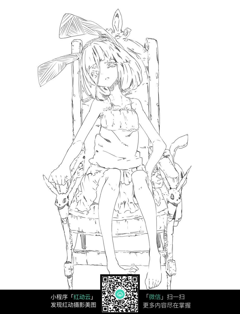 坐在椅子上的女孩卡通手绘线稿jpg