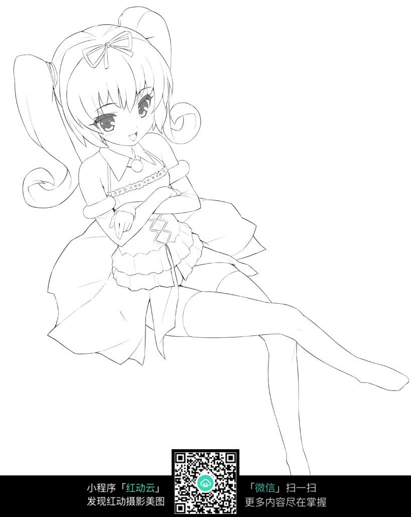 坐着翘腿的女孩卡通手绘线稿jpg图片
