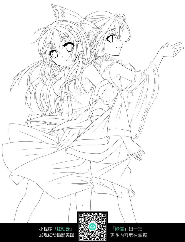 2个背靠背的美少女手绘线稿插画图片