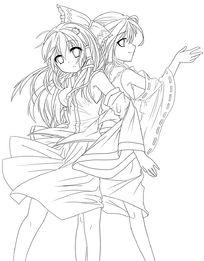 2个背靠背的美少女手绘线稿插画