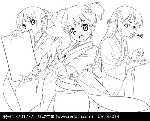 3个美少女手绘线描图