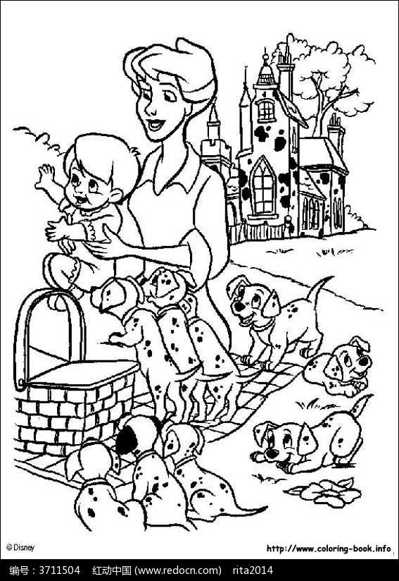 卡通狗狗动漫线描_人物卡通图片_红动手机版