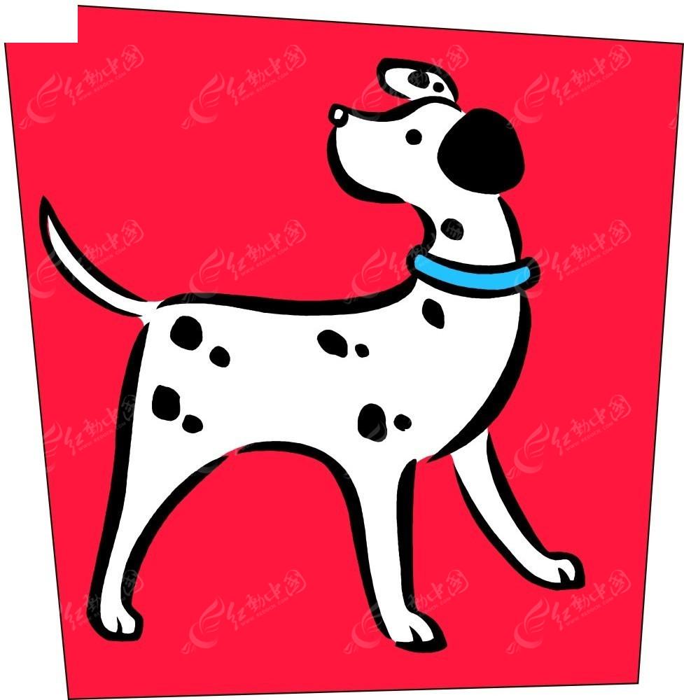 斑点狗手绘插画