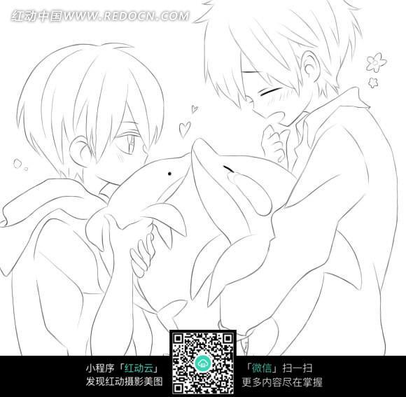 免费素材 图片素材 漫画插画 人物卡通 抱着海豚亲嘴的小孩手绘线描