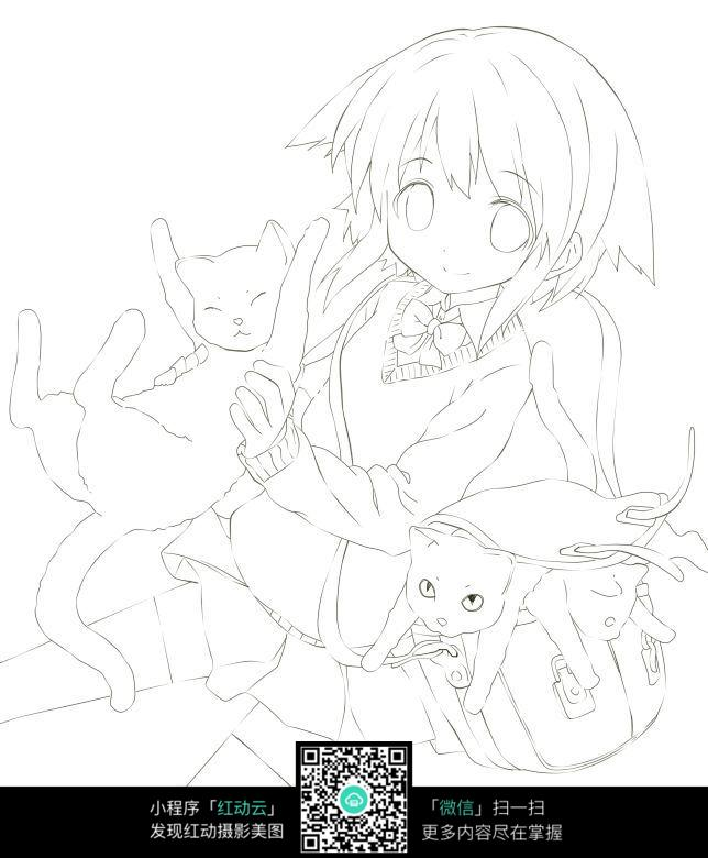 免费素材 图片素材 漫画插画 人物卡通 抱着猫的美少女手绘线稿图  请