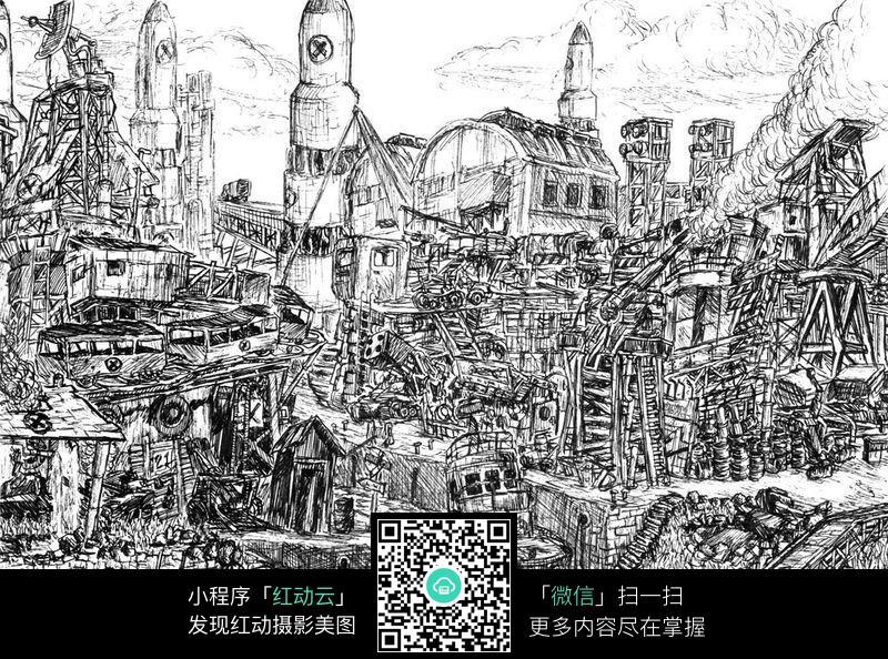 被毁的城市手绘线稿图