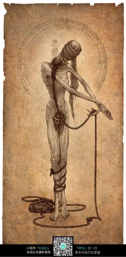 被捆绑的怪物手绘填色图