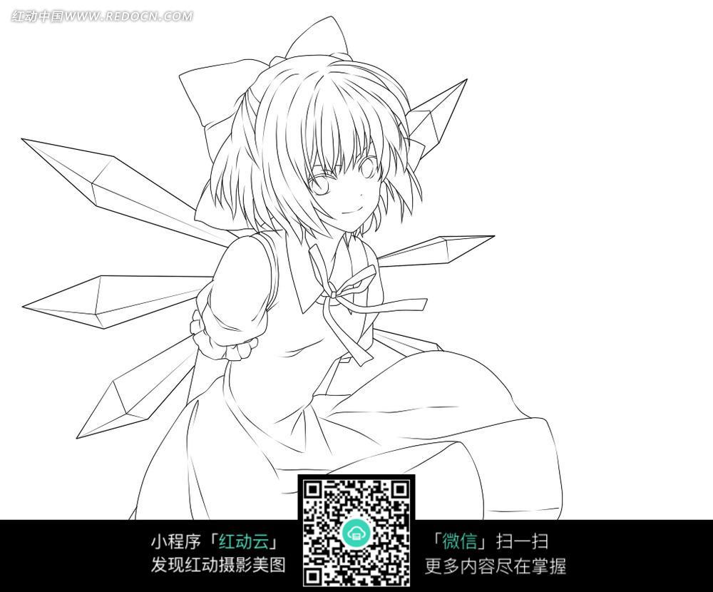 背手穿裙子的美少女手绘线稿插画