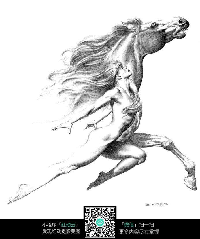 奔跑的马美女手绘素描画图片