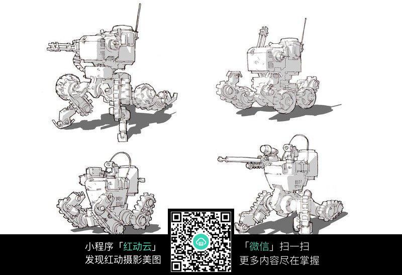 变形坦克手绘填色线描稿_人物卡通图片
