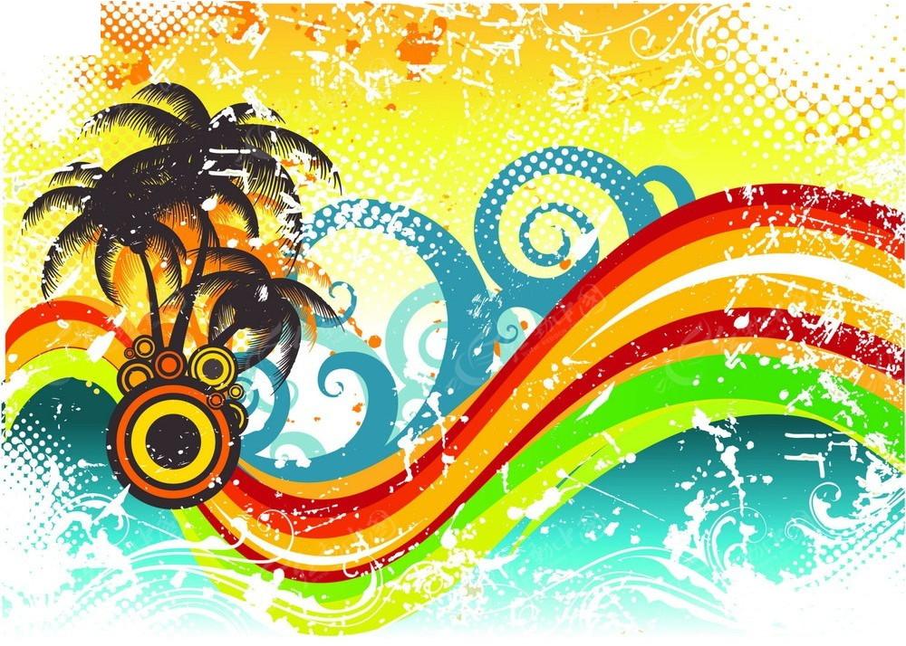 彩色海浪背景素材