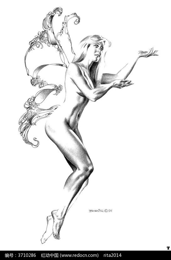 长翅膀的裸体美女手绘素描画图片