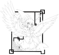 长翅膀的美少女手绘线稿插画