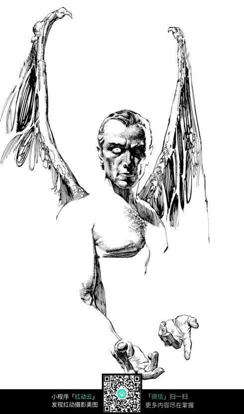 长翅膀的男子手绘素描画图片
