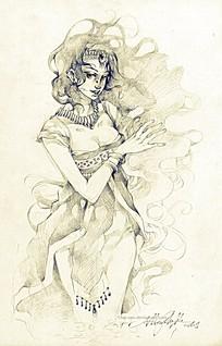 长发卷发女孩手绘线描画图片