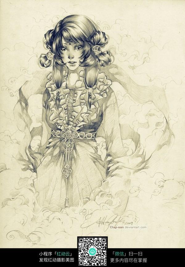 长发美女手绘线描画