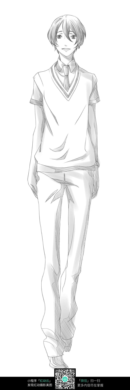 长腿帅哥人物线描