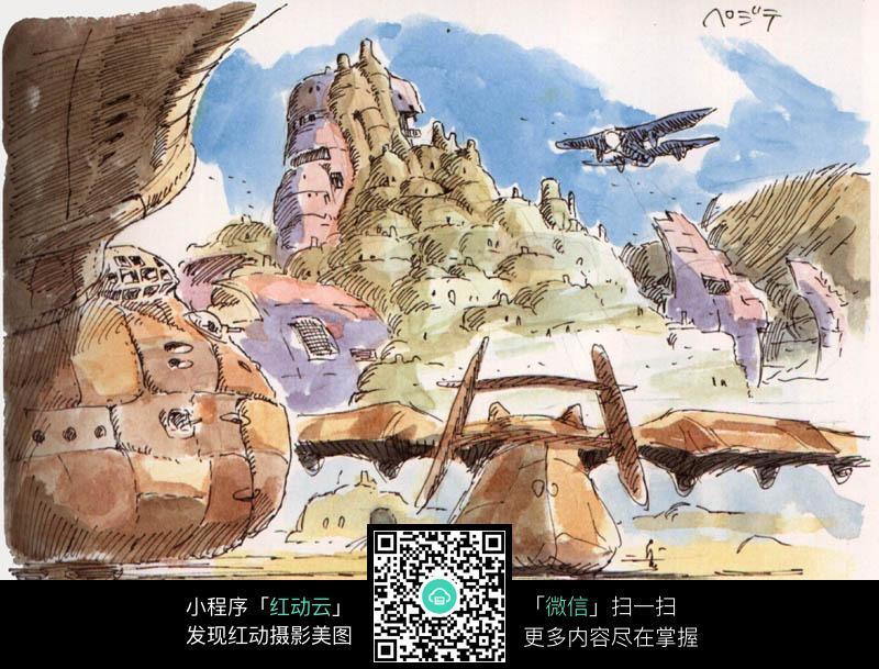 城堡飞行器手绘水彩线描画