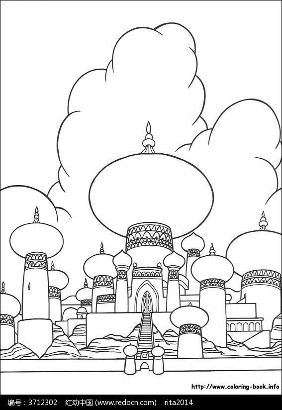城堡卡通动漫线描