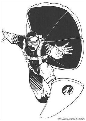 乘飞板的冒险者手绘线描画