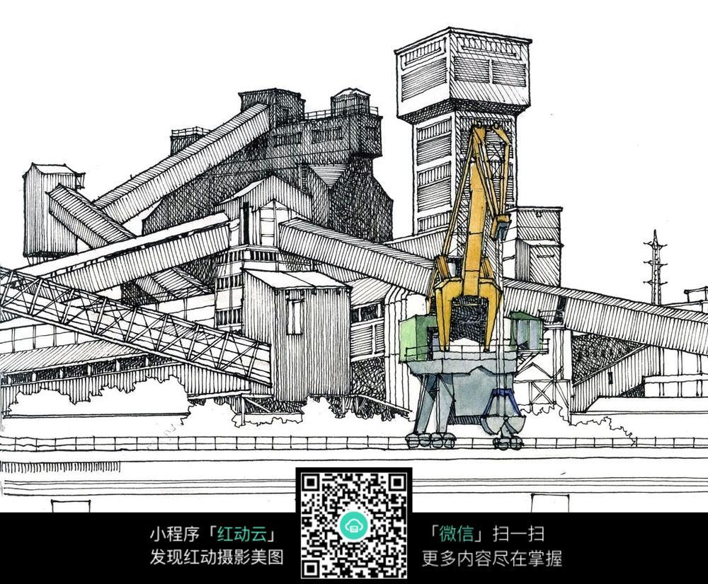 城市建设手绘线描稿