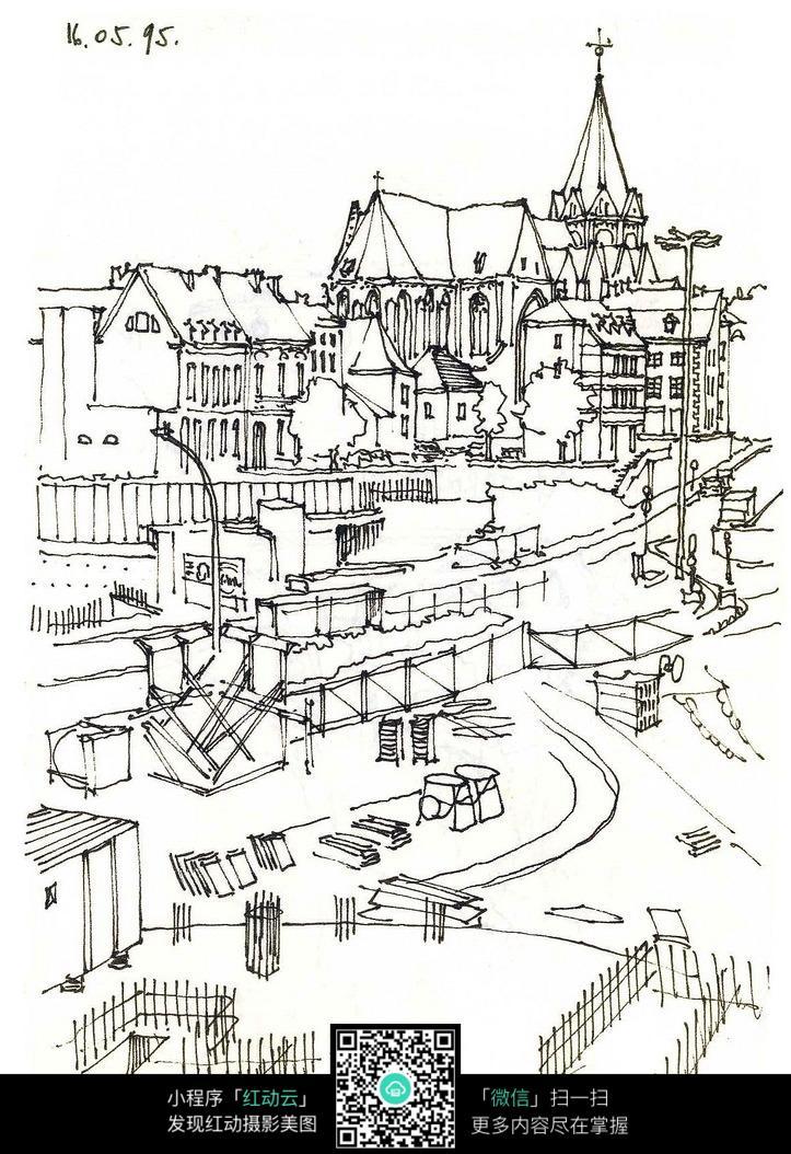 城市建设手绘线描画