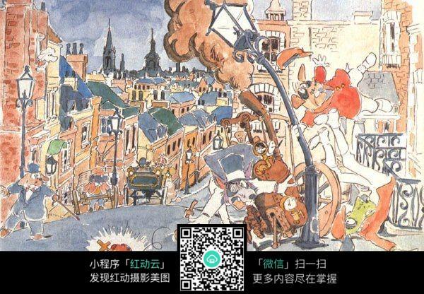 城市街景手绘水彩线描画图片免费下载 编号3708332 红动网图片