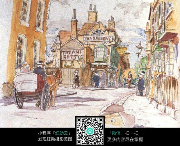 城市街景手绘水彩线描画图片免费下载 编号3708344 红动网图片