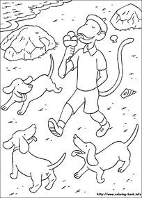 吃冰激凌的小孩小狗卡通手绘线描图