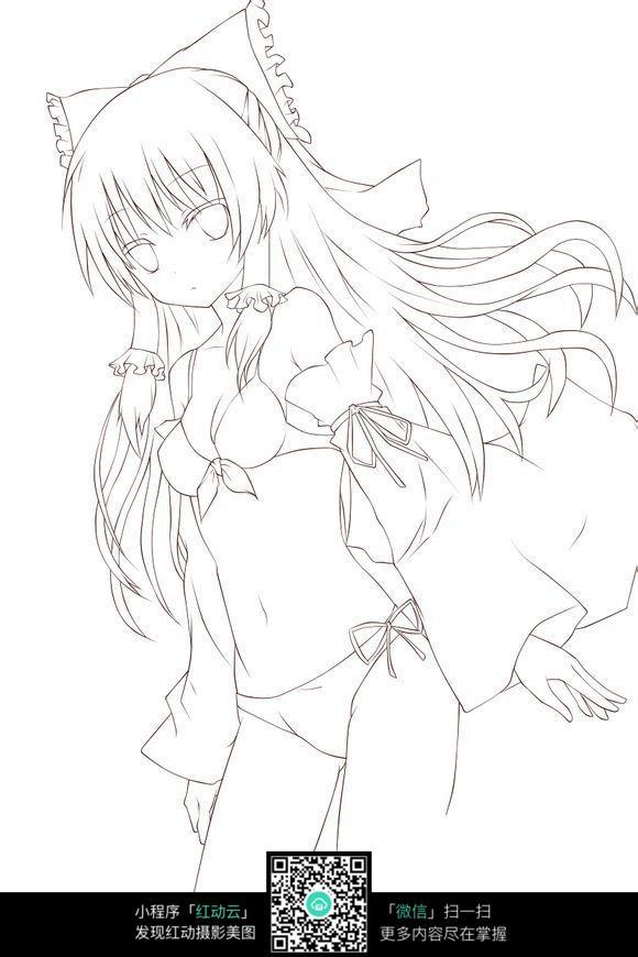 女手绘线稿图图片