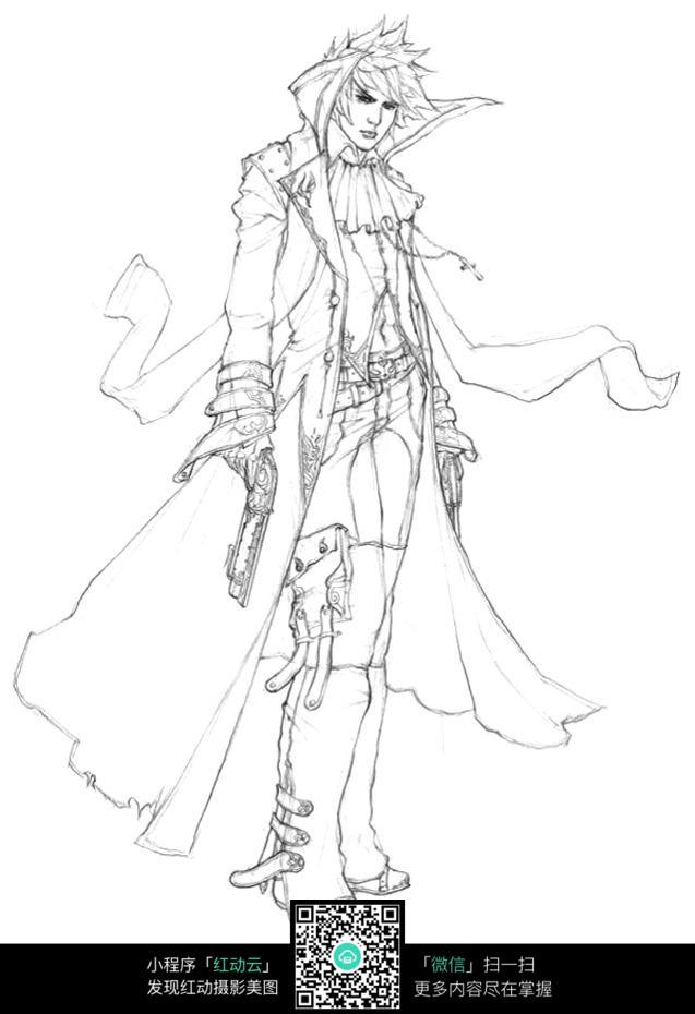 穿风衣的帅哥手绘线描画