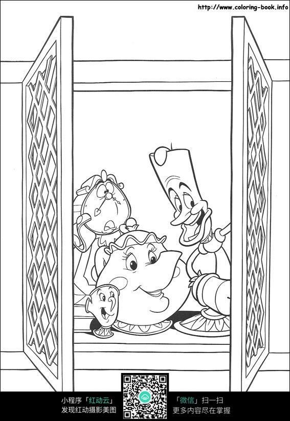 窗外小人卡通手绘线描图图片