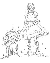 穿花裙子打扫卫生的美少女手绘线稿插画