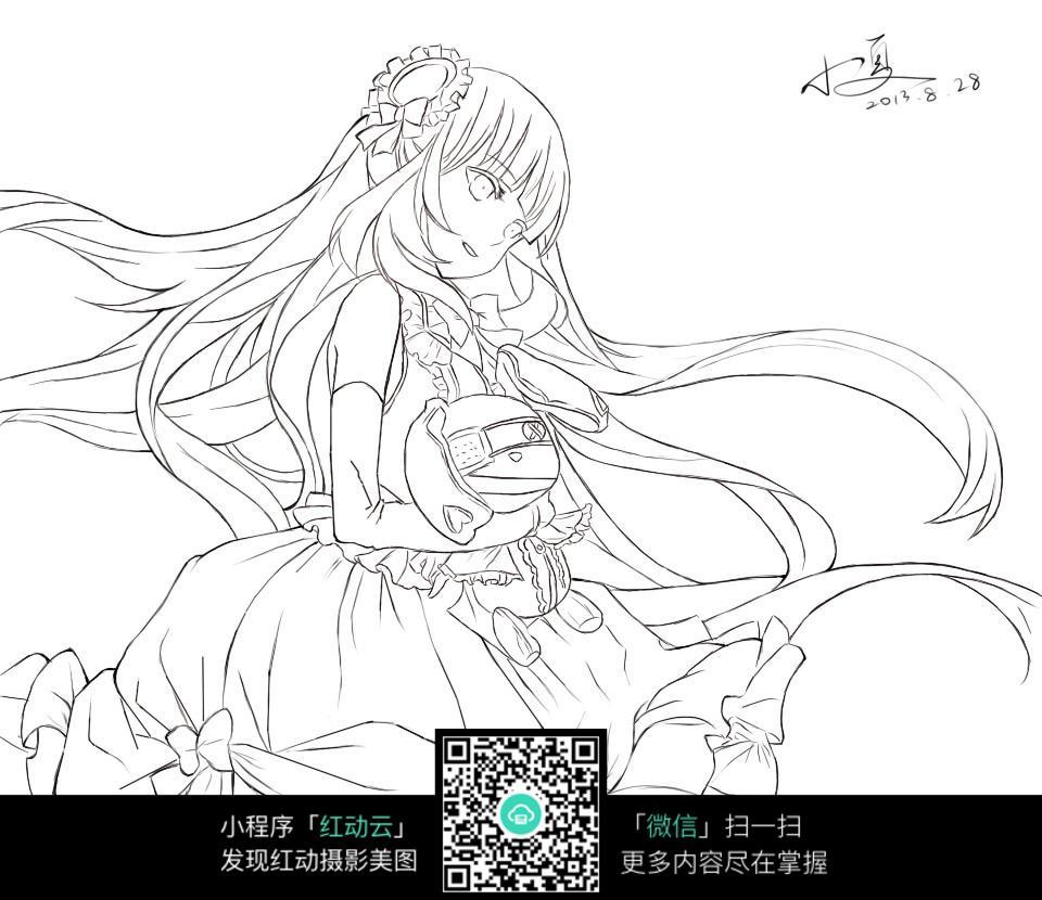 穿花裙子的美少女手绘线稿图图片