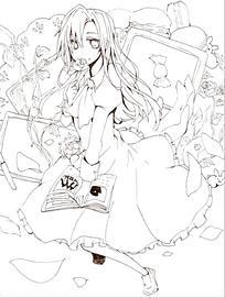 穿花裙子看书的美少女手绘线稿插画