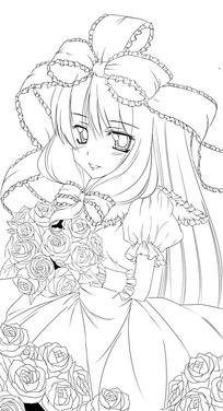 穿花裙子扎蝴蝶结的美少女手绘线稿插画