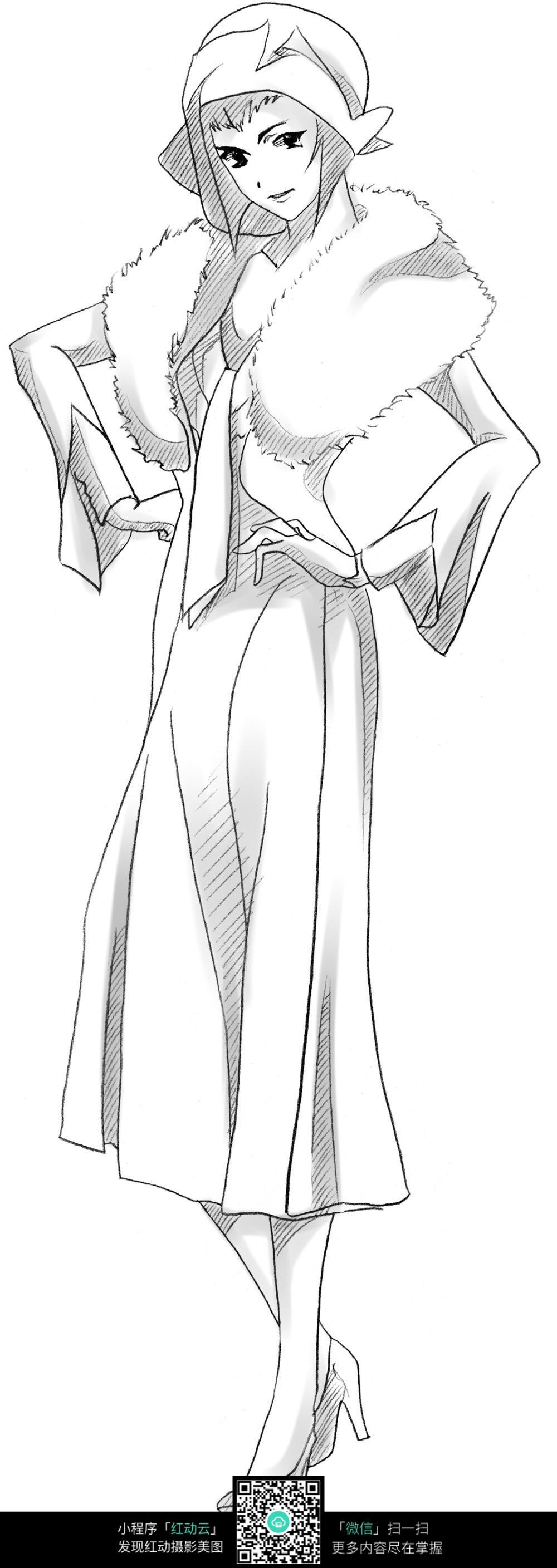 穿着高贵礼服的女人线描