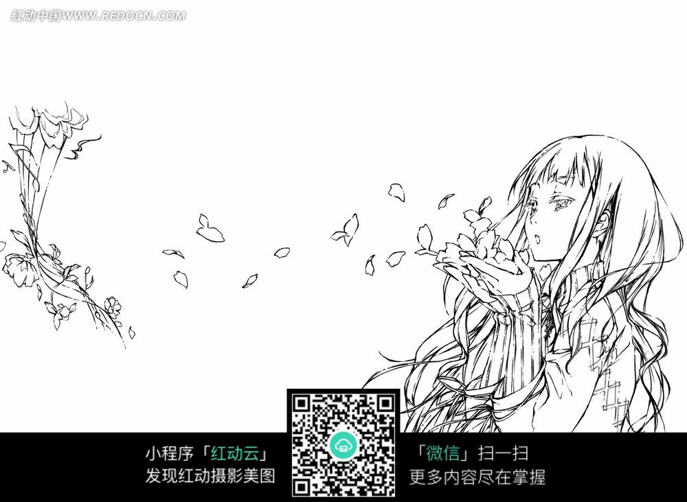 吹花瓣的美少女手绘线稿插画