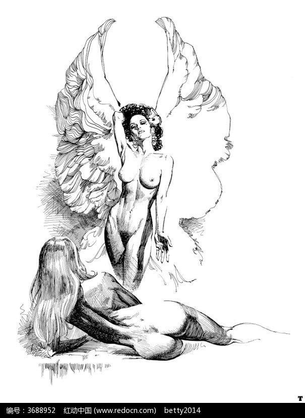 带翅膀的裸体美女手绘素描画图片