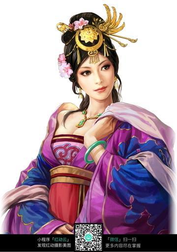 带皇冠的美女手绘仿真填色画图片