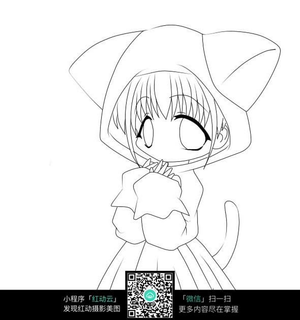 戴帽子的美少女手绘线稿图