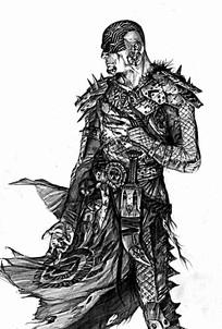 带面具的战士手绘素描画