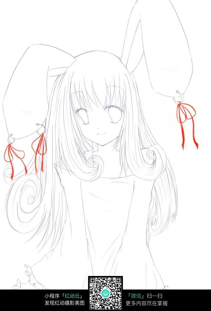 带兔子耳朵的美少女手绘线稿图