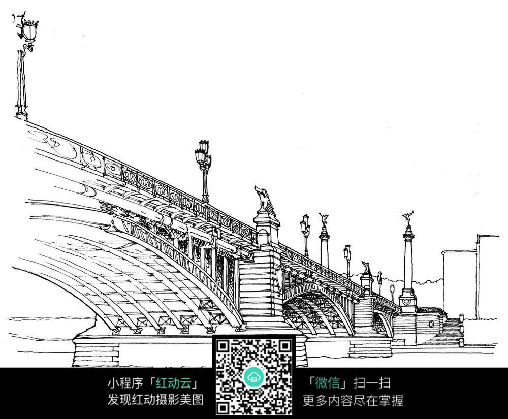 大桥建筑手绘线描画图片免费下载 编号3700680 红动网