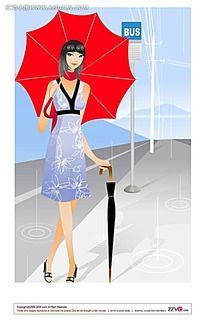 打伞的韩国美女矢量素材图片