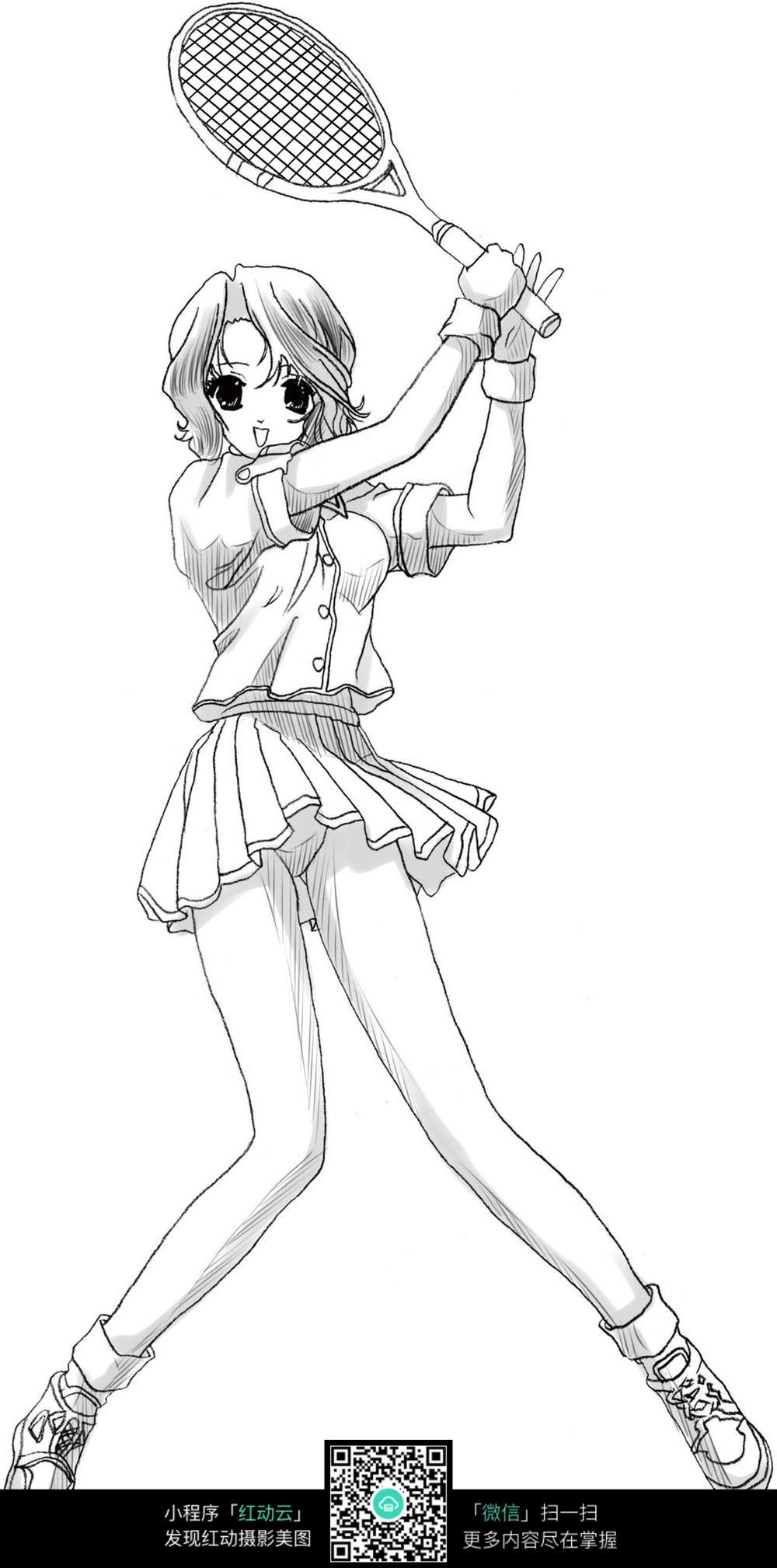 打羽毛球的卡通女孩