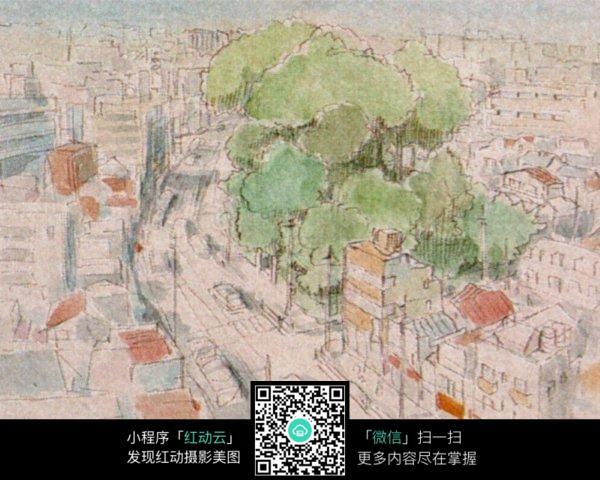 朦胧的城市手绘水彩线描画
