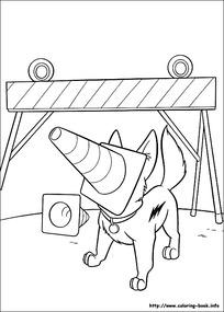 叼路牌的小狗卡通手绘线描图
