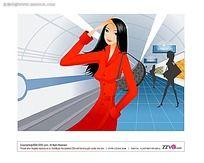 地铁里的美女矢量素材图片